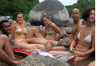 Group of language students and local friends at the Caldera Hot Springs 30 minutes from Boquete